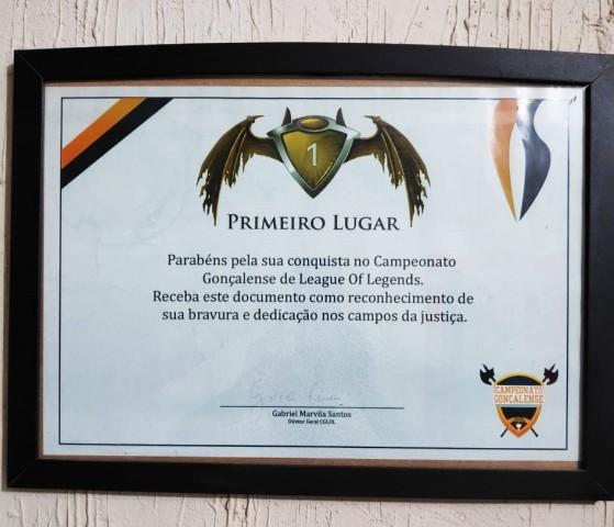 Certificado do torneio que Cariok disputou em São Gonçalo | Foto: Acervo pessoal - League of Legends