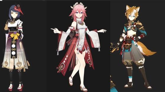 Respectivamente Yae, Sara e Gorou. | Imagem: Dualshockers/Reprodução - Genshin Impact