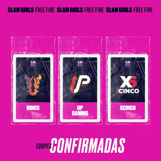 Rinos, UP Gaming e XCinco — Foto: GrandSlam Championship - Free Fire