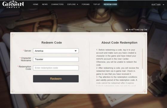 Imagem dá página de resgate de códigos. - Genshin Impact