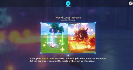 Mensagem de explicação sobre o Nível de Mundo. | Imagem: miHoYo/Reprodução - Genshin Impact
