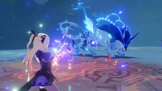 Andrius, ou Lupus Boreas, um dos dois chefes presentes no game. | Imagem: miHoYo/Reprodução - Genshin Impact
