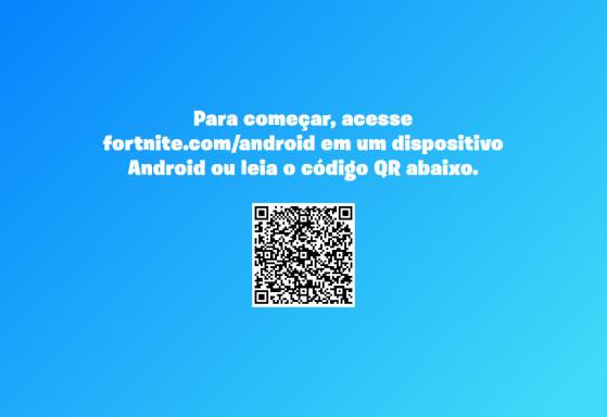 Leia o QR Code de qualquer celular Android para ser redirecionado à página de download do jogo. | Imagem: Epic Games/Reprodução - Fortnite Battle Royale