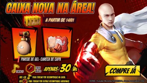Free Fire x One Punch Man: Parede Careca de Capa está disponível na Loja