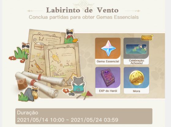 Recompensas do evento Labirinto do Vento - Genshin Impact