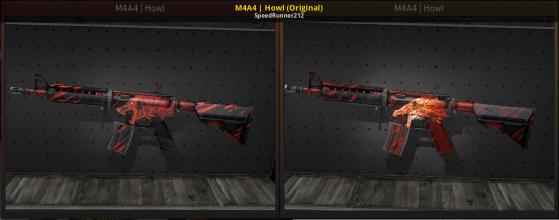 Na esquerda a M4A4 Howl antes da polêmica e na direita depois da polêmica e atualização - Counter-Strike: Global Offensive