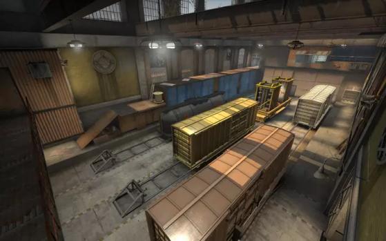 Bomsite B da Train com as posições Pava e Pavinha no canto direito da foto - Counter-Strike: Global Offensive