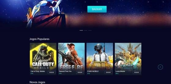 Site do Gameloop - PUBG
