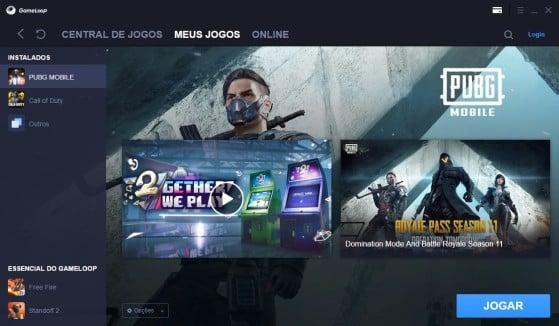 Área de jogos baixados no Gameloop - PUBG
