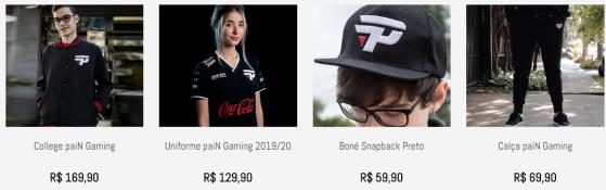 Venda de produtos da Pain com publicidade e propaganda envolvendo jogadores | Imagem: Reprodução/Pain - Millenium