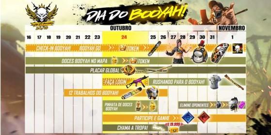 Calendário do evento Dia do Booyah! de Free Fire.   Imagem: Garena/Reprodução - Free Fire