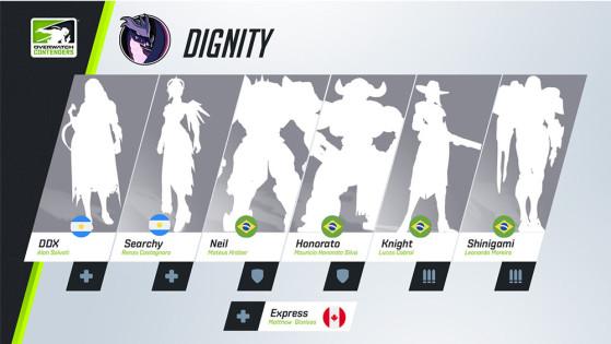 A Dignity também chegou às semifinais de todas as temporadas, terminando em segundo lugar tanto na primeira quanto na terceira. | Imagem: Blizzard/Reprodução - Overwatch