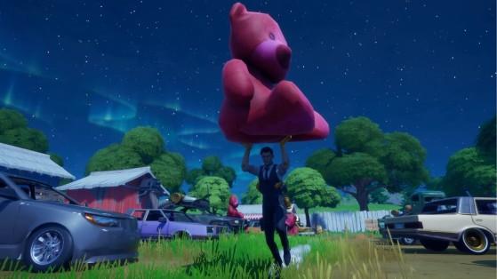 Fortnite: Carregue o urso de pelúcia rosa gigante encontrado nas Bobinas Traiçoeiras por 100 metros