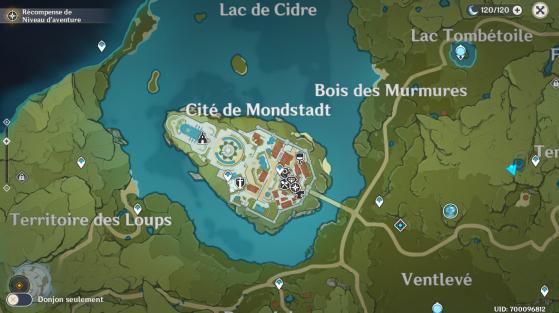 Cidade de Mondstadt no mapa. - Genshin Impact