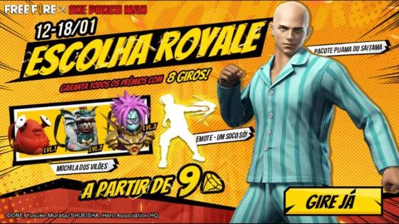 Free Fire x One Punch Man: Escolha Royale traz Pacote Pijama do Saitama