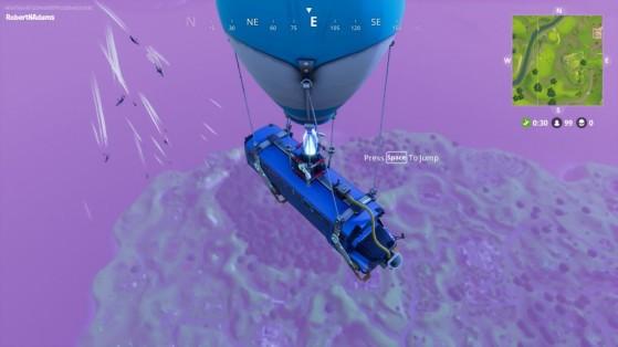 O ônibus de combate sobrevoa a ilha e os jogadores partem - Fortnite Battle Royale