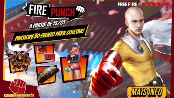 Free Fire x One Punch Man: Evento Fire Punch garante mais itens temáticos