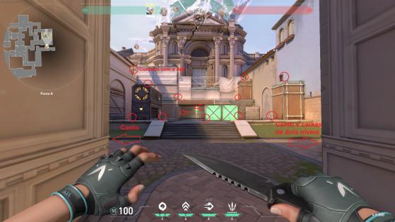 Veja a quantidade de lugares e lados que um defensor pode estar no bombsite A - Valorant
