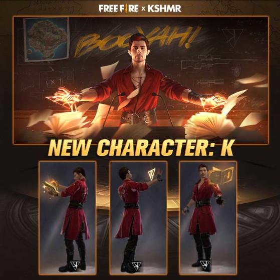 K, o novo personagem de Free Fire. | Imagem: Garena - Free Fire